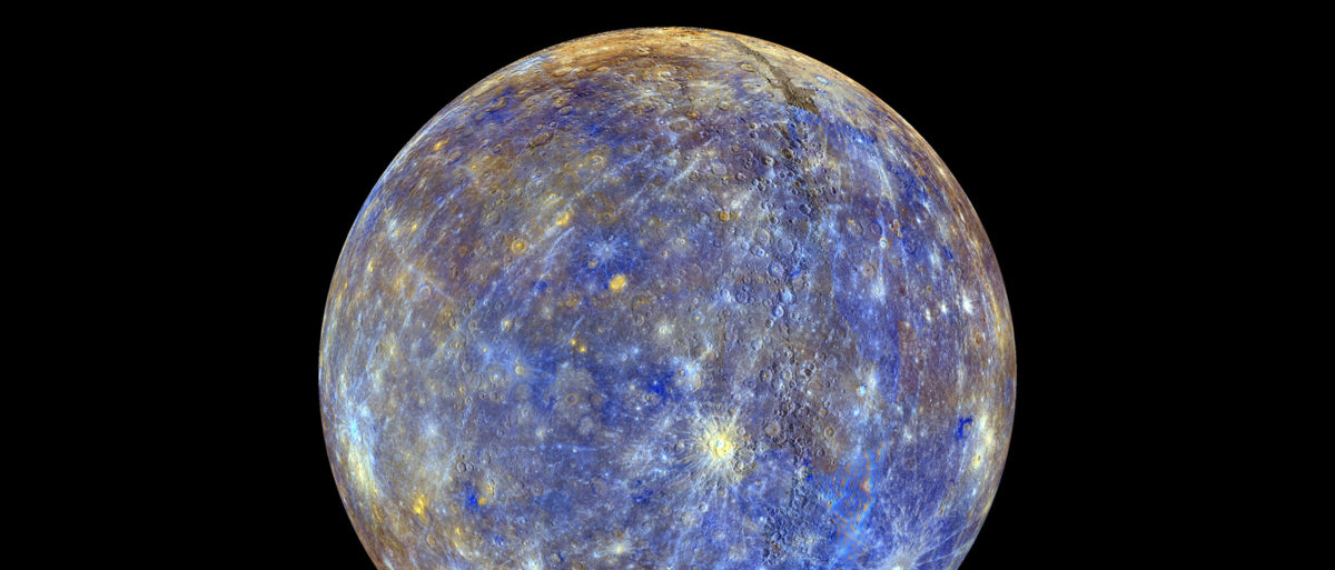 An image of the planet Mercury produced by NASA'S MErcury Surface, Space ENvironment, GEochemistry, and Ranging, or MESSENGER probe is seen in an undated picture released April 16, 2015. These colors are not what Mercury would look like to the human eye, but rather the colors enhance the chemical, mineralogical, and physical differences between the rocks that make up Mercury's surface, according to NASA. The MESSENGER spacecraft that made surprising discoveries of ice and other materials on Mercury will make a crash landing into the planet around April 30, scientists said on Thursday. REUTERS/NASA/Johns Hopkins University Applied Physics Laboratory/Carnegie Institution of Washington/Handout