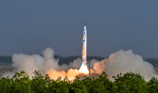 """""""Chongqing Liangjiang Star"""" rocket, developed by Chinese private firm OneSpace Technology, takes off from a launchpad in an undisclosed location in northwestern China May 17, 2018. Wan Nan/Chongqing Ribao via REUTERS"""