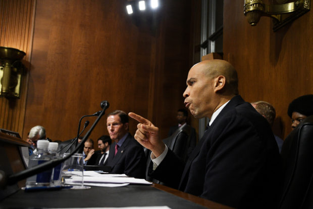 Sen. Cory Booker, D-NJ makes an impassioned speech during the Senate Judiciary Committee meeting