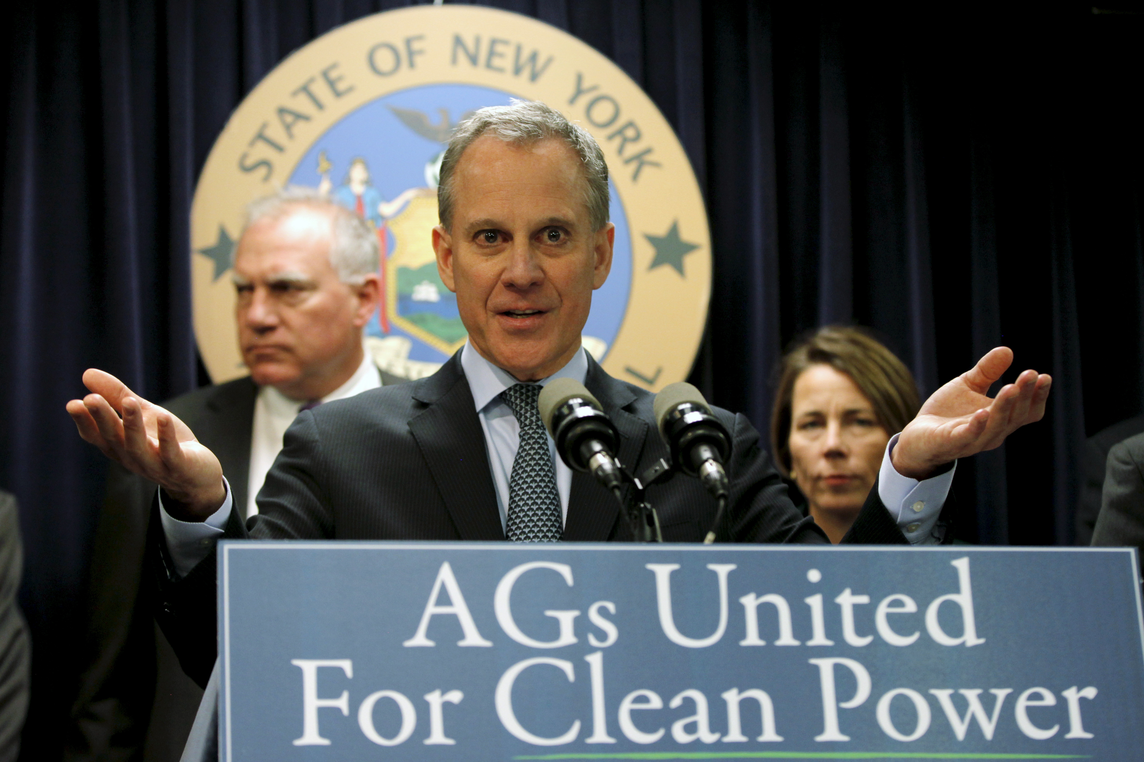 New York Attorney General Eric Schneiderman speaks at a news conference with other U.S. State Attorney's General to announce a state-based effort to combat climate change in the Manhattan borough of New York