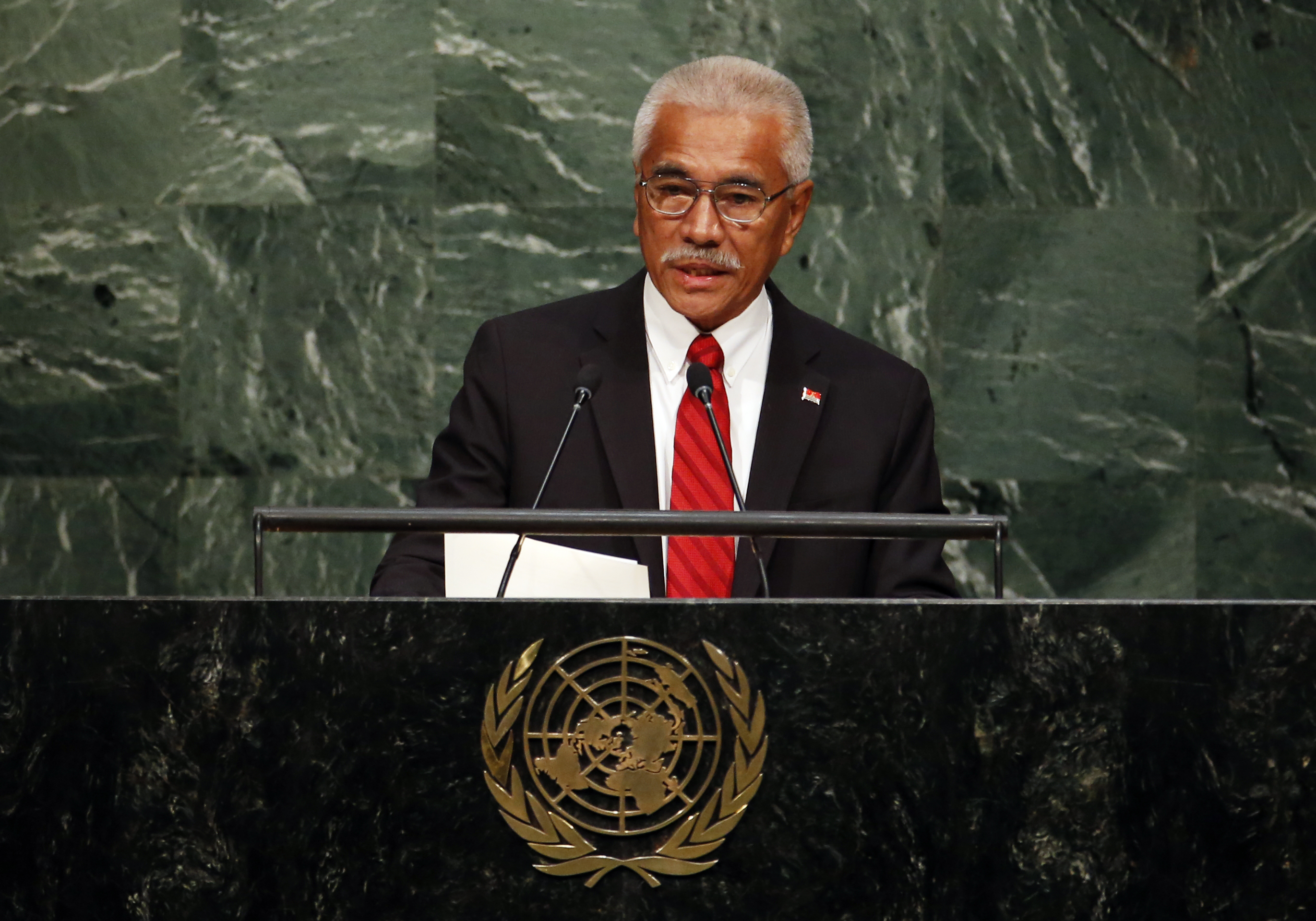 Kiribati's President Anote Tong addresses the United Nations Sustainable Development Summit in New York