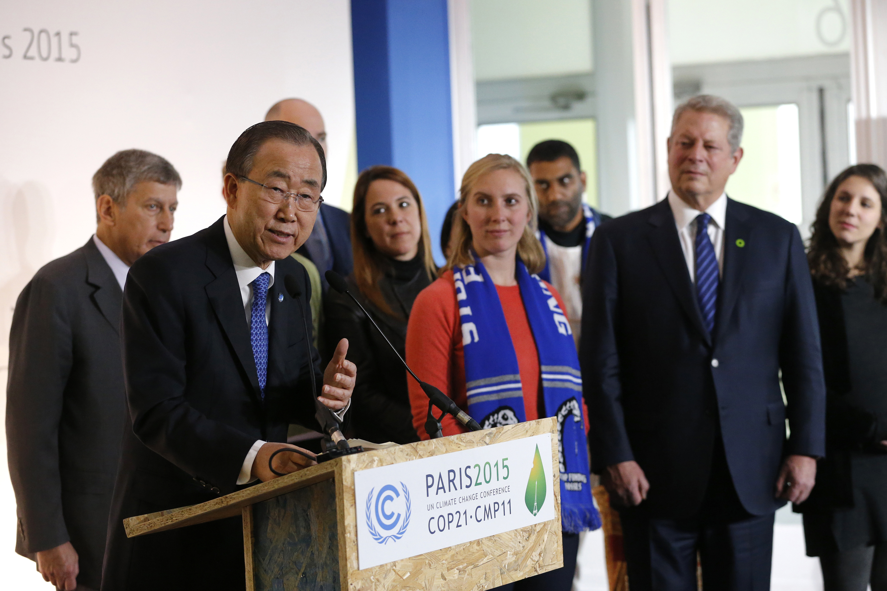 UN Secretary-General Ban Ki-moon delivers his speech near Al Gore, former US Vice President and Climate Reality Project Chairman, during the World Climate Change Conference 2015 (COP21) at Le Bourget
