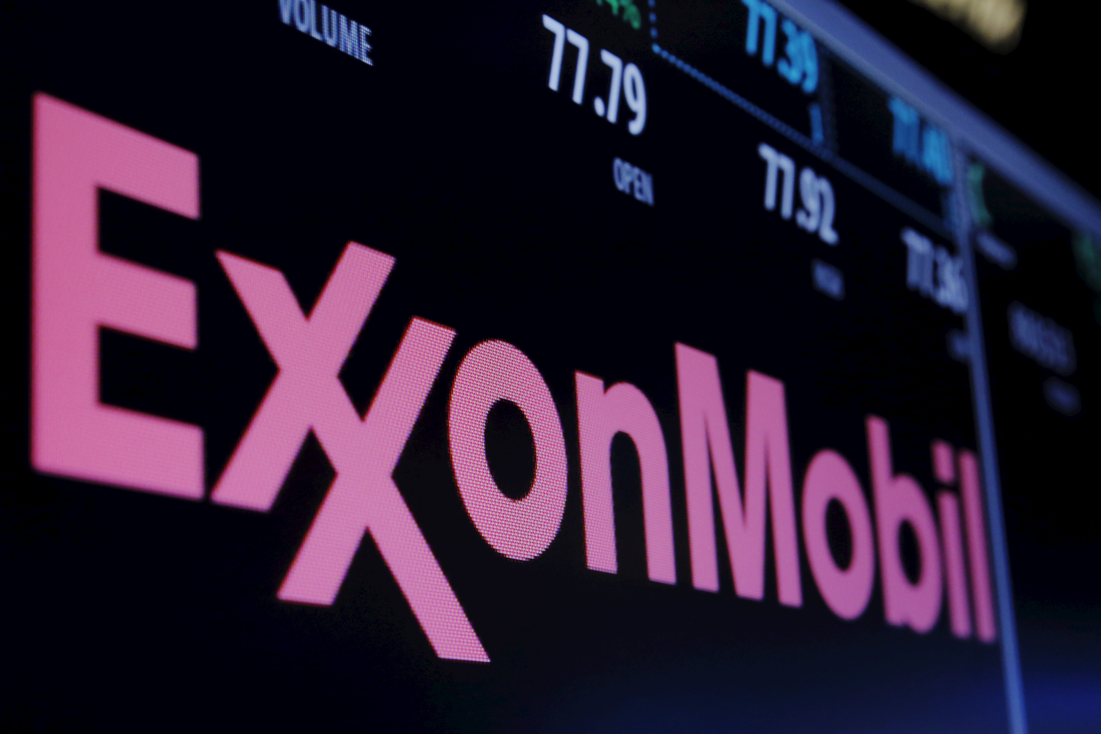 The Exxon logo is displayed agove the floor of the New York Stock Exchange (NYSE) shortly after the opening bell in New York