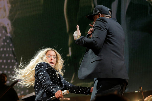 Beyonce and Jay-Z perform at a campaign concert for Hillary Clinton in Cleveland, Ohio