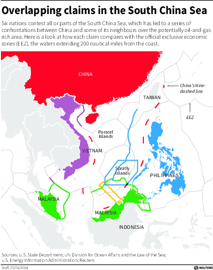South China Sea claims E C Reissue - Map showing the overlapping claims by country on the South China Sea.