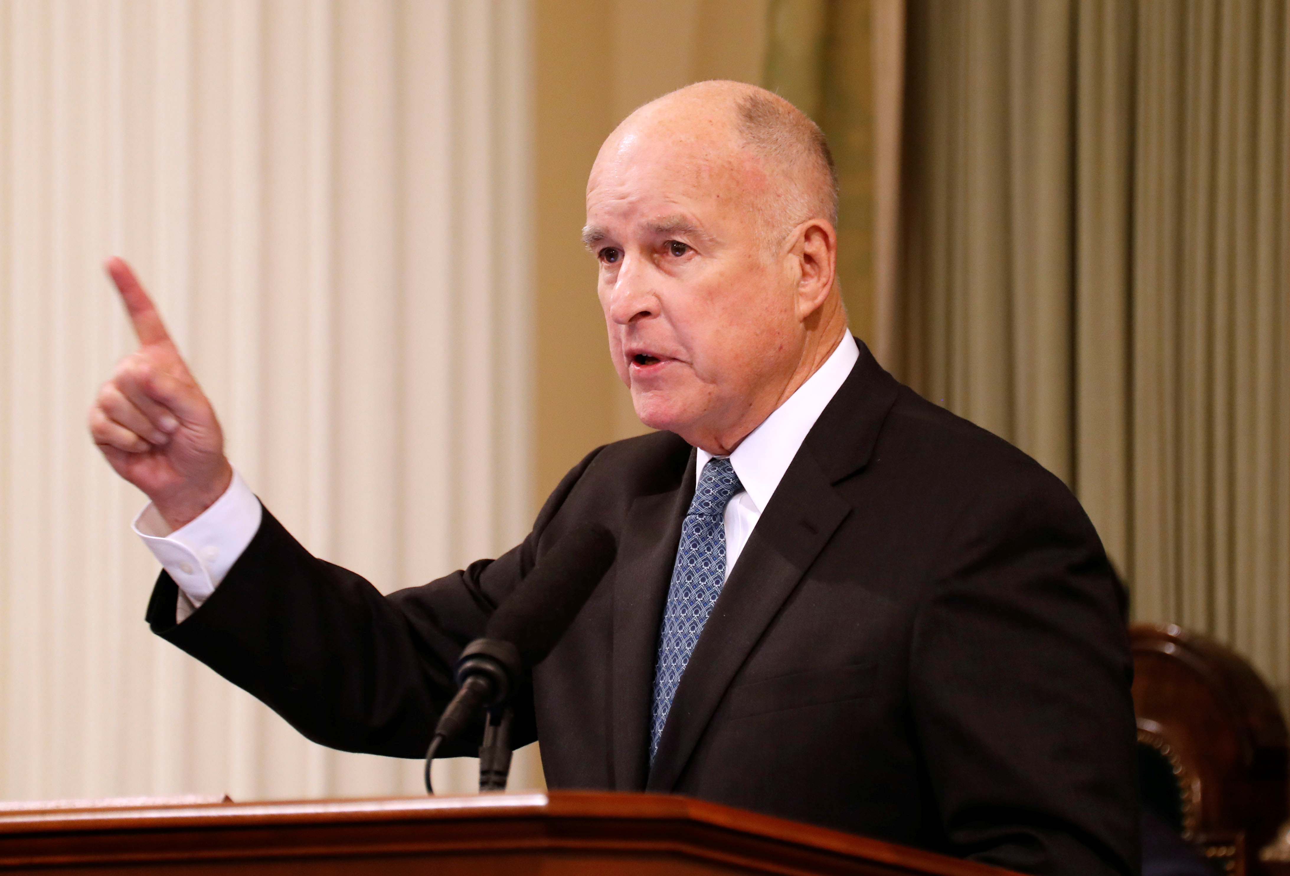 California Governor Jerry Brown delivers his final state of the state address in Sacramento,