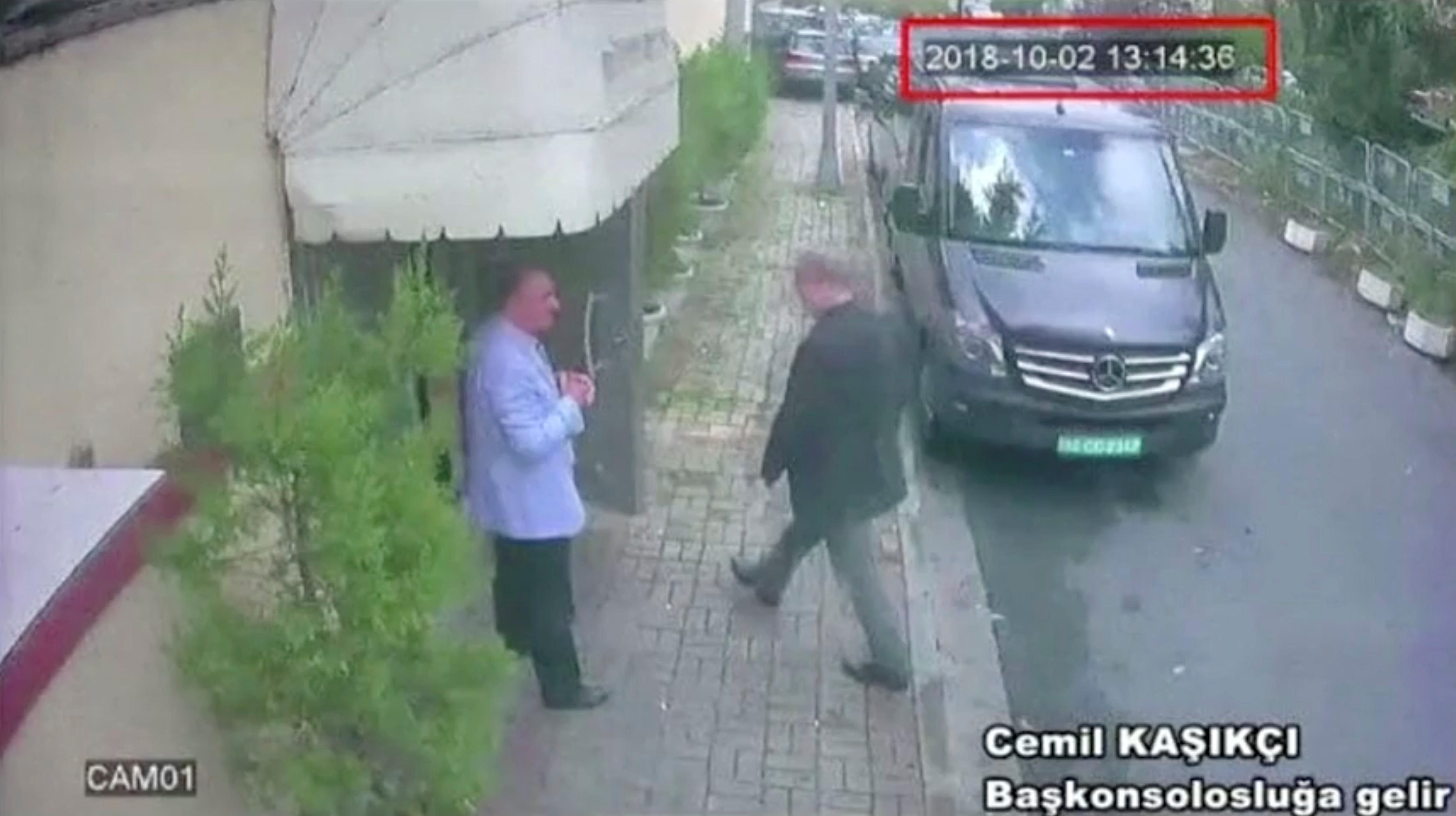 A still image taken from CCTV video and obtained by TRT World claims to show Saudi journalist Jamal Khashoggi as he arrives at Saudi Arabia's consulate in Istanbul, Turkey Oct. 2, 2018. Reuters TV/via REUTERS. ATTENTION EDITORS - THIS PICTURE WAS PROVIDED BY A THIRD PARTY. NO RESALES. NO ARCHIVES. - RC181F5A6630