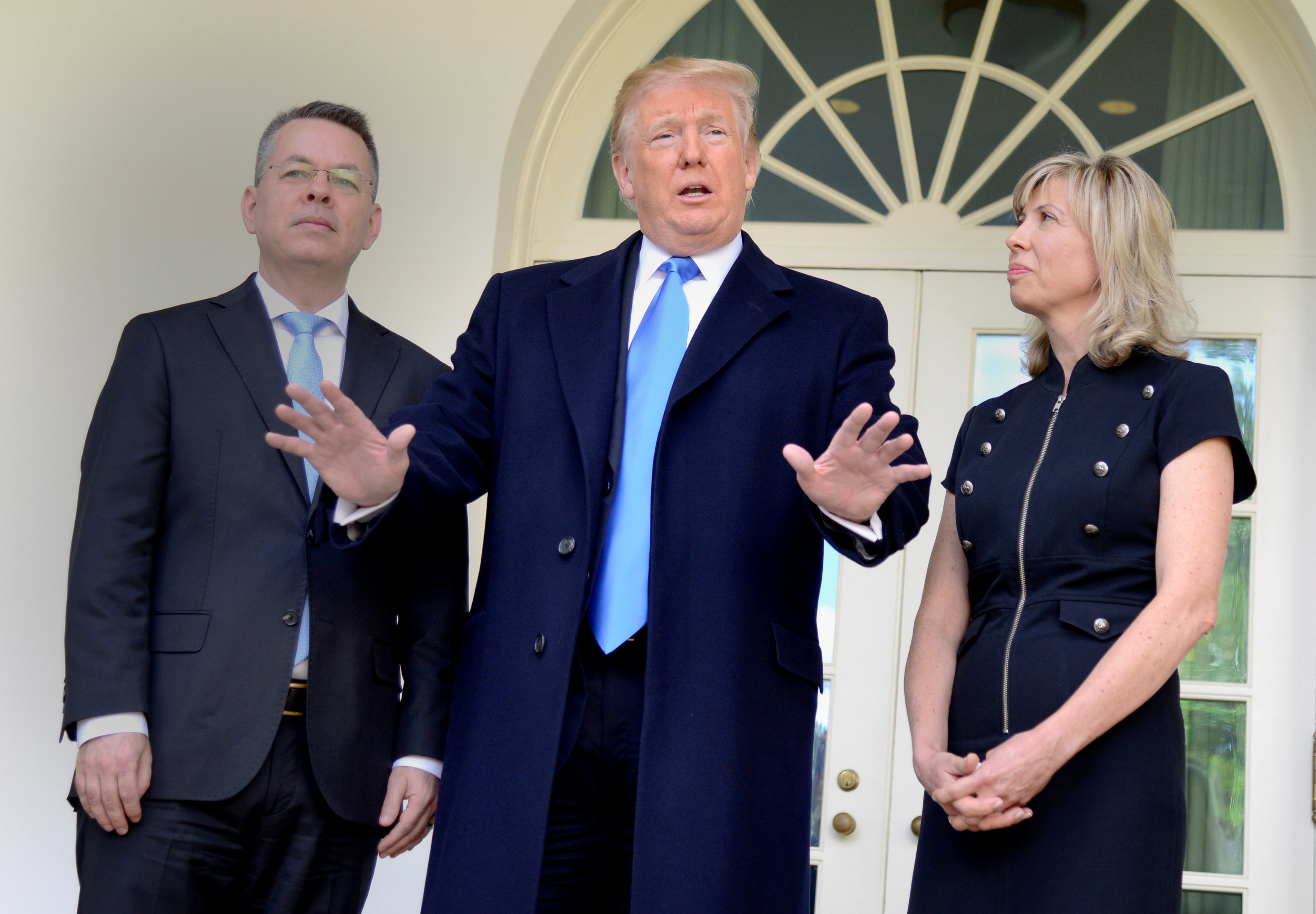U.S. President Donald Trump speaks to the press prior to welcoming Pastor Andrew Brunson, released from Turkish detention, and his wife Jacqueline, to the Oval Office of the White House, Washington, U.S., October 13, 2018. REUTERS/Mike Theiler - RC13325EADA0