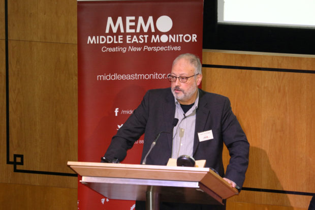 FILE PHOTO: Saudi dissident Jamal Khashoggi speaks at an event hosted by Middle East Monitor in London Britain, September 29, 2018. Middle East Monitor/Handout via REUTERS/File Photo ATTENTION EDITORS - THIS IMAGE WAS PROVIDED BY A THIRD PARTY - RC1DF7F96D90