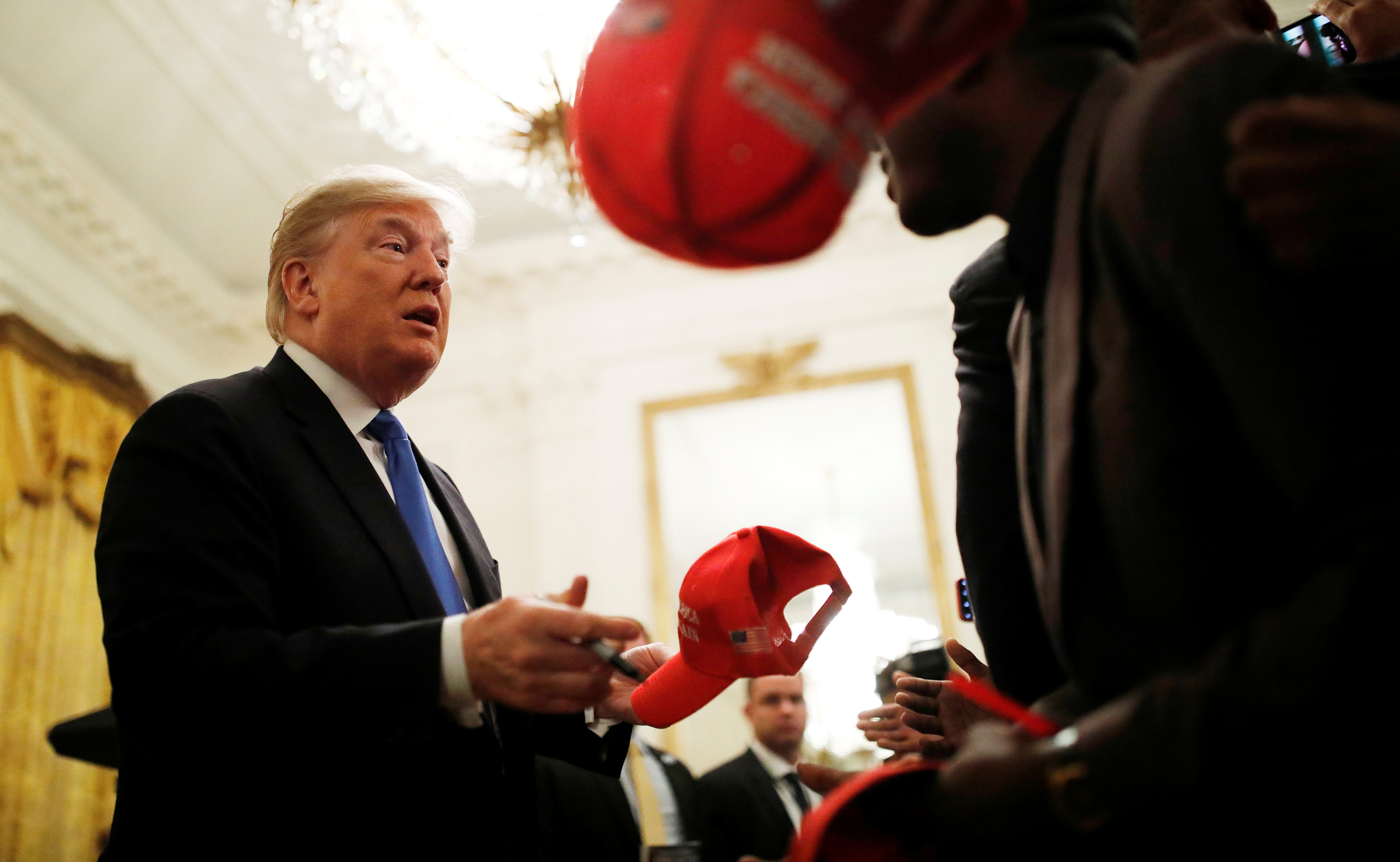"President Trump speaks with attendeed at ""2018 Young Black Leadership Summit"" in the East Room of the White House in Washington"