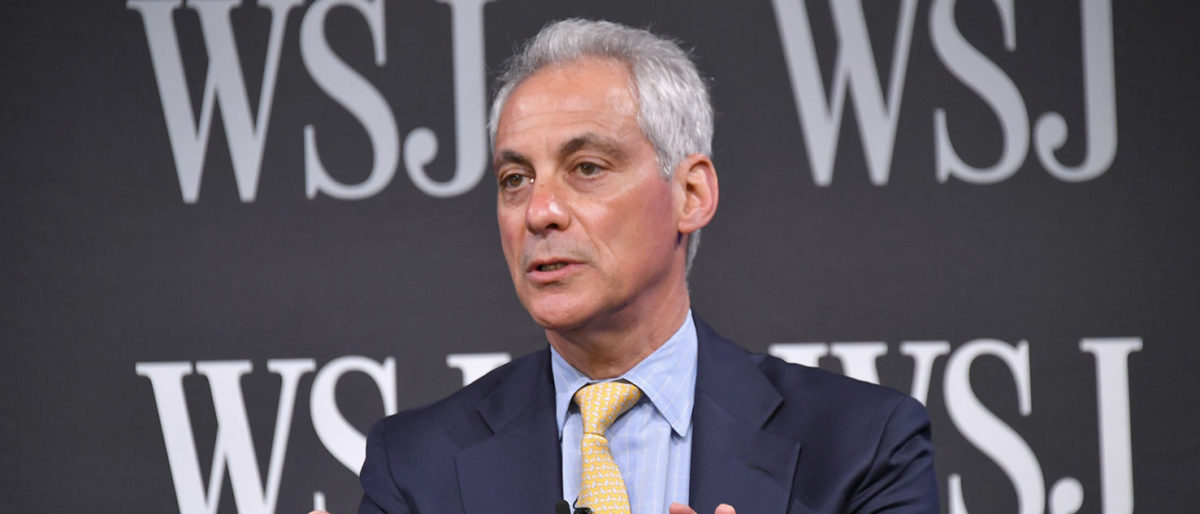 Rahm Emanuel speaks on stage at the WSJ The Future of Everything Festival at Spring Studios on May 9, 2018 in New York City. (Photo by Michael Loccisano/Getty Images)
