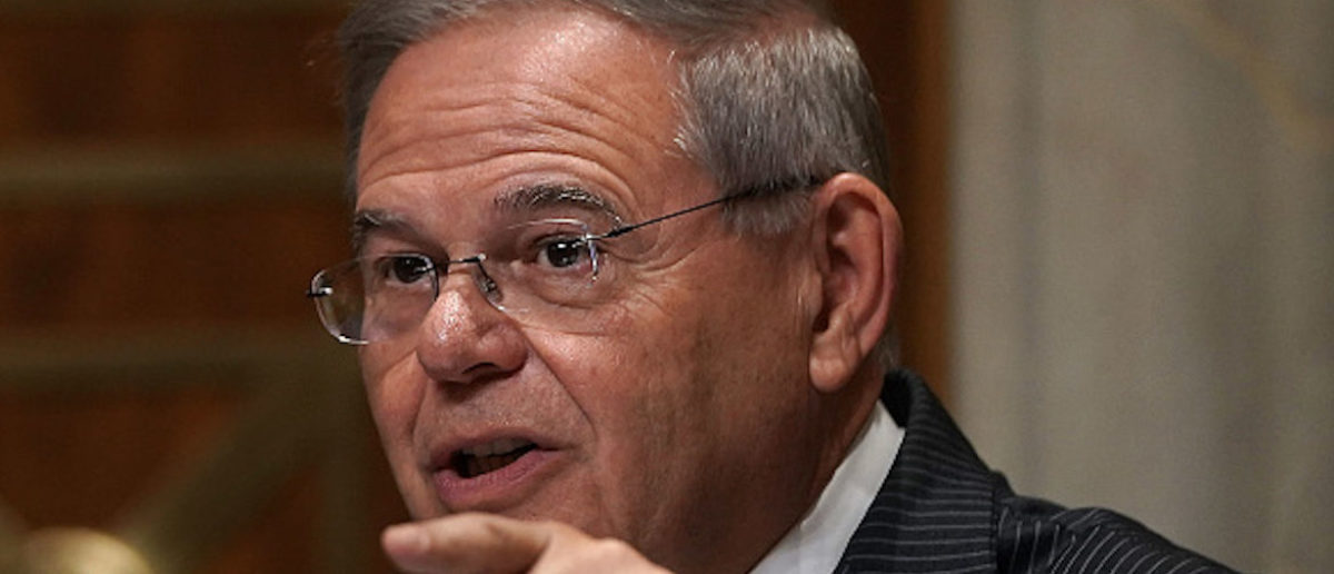 """WASHINGTON, DC - JULY 25: Ranking member U.S. Sen. Robert Menendez (D-NJ) speaks during a hearing before Senate Foreign Relations Committee July 25, 2018 on Capitol Hill in Washington, DC. The committee held a hearing on """"An Update on American Diplomacy to Advance Our National Security Strategy."""" (Photo by Alex Wong/Getty Images)"""