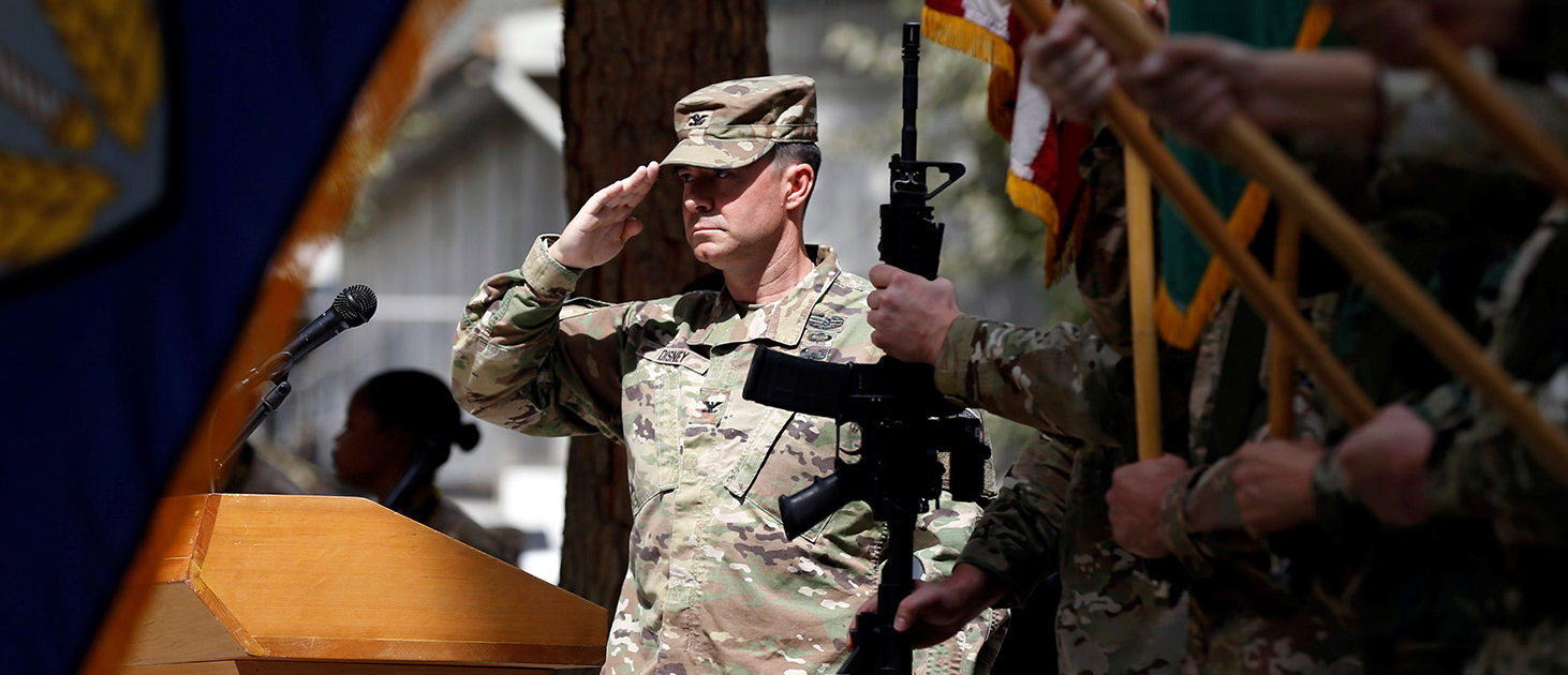 A U.S officer salutes during a change of command ceremony in Resolute Support headquarters in Kabul, Afghanistan September 2, 2018. REUTERS/Mohammad Ismail