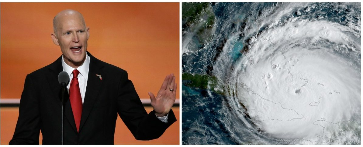 Side-by-side of Florida Gov. Rick Scott and 2017's Hurricane Irma. (images form Reuters)