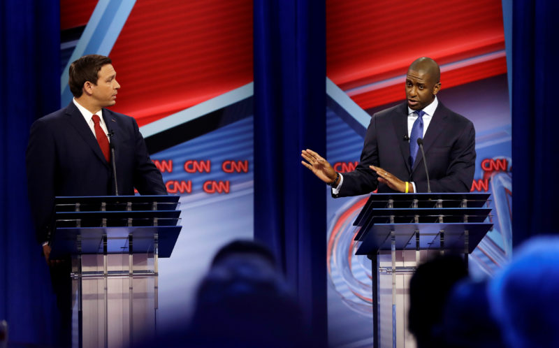 Florida Republican gubernatorial candidate Ron DeSantis looks on during CNN debate with Democratic gubernatorial candidate Andrew Gillum in Tampa, Florida, October 21, 2018. Chris O'Meara/Pool via REUTERS