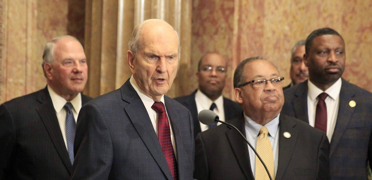 SALT LAKE CITY, UT - MAY 17: (L-R) President of the Mormon Church Russell M. Nelson, Leon W. Russell Chairman of the Board of Directors of the NAACP, and Derrick Johnson President and CEO of the NAACP, talk at a press conference at The Church of Jesus Christ of Latter Day Saints Administration Building on May 17, 2018 in Salt Lake City, Utah. The Mormon church and NAAP leaders, issued a joint statement after meeting, to increased corporation on humanitarian efforts around the world and encourage people to bridge difference and come together. This coming June 8th will be the 40th anniversary of the Mormon Church lifting its bad on black men receiving the Mormon priesthood and black woman not being permitted to enter the churches temples. (Photo by George Frey/Getty Images)