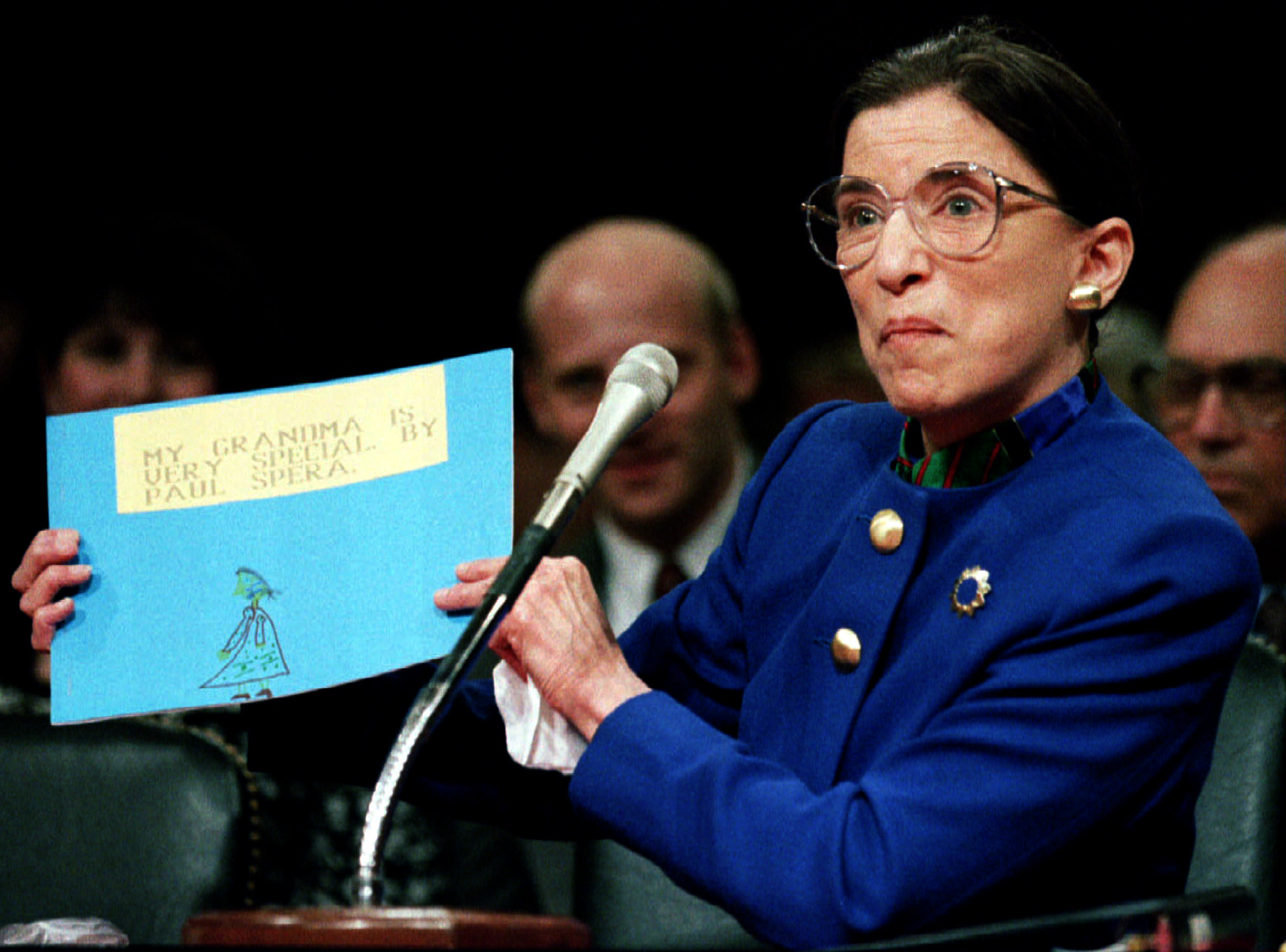 Justice Ruth Bader Ginsburg displays a drawing by her grandson at her 1993 confirmation hearings. (Reuters)