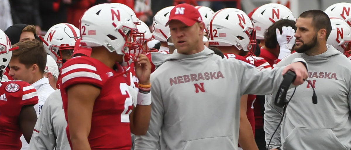 LINCOLN, NE - SEPTEMBER 29: Head coach Scott Frost of the Nebraska Cornhuskers talks with quarterback Adrian Martinez #2 on the sideline during the game against the Purdue Boilermakers at Memorial Stadium on September 29, 2018 in Lincoln, Nebraska. (Photo by Steven Branscombe/Getty Images)