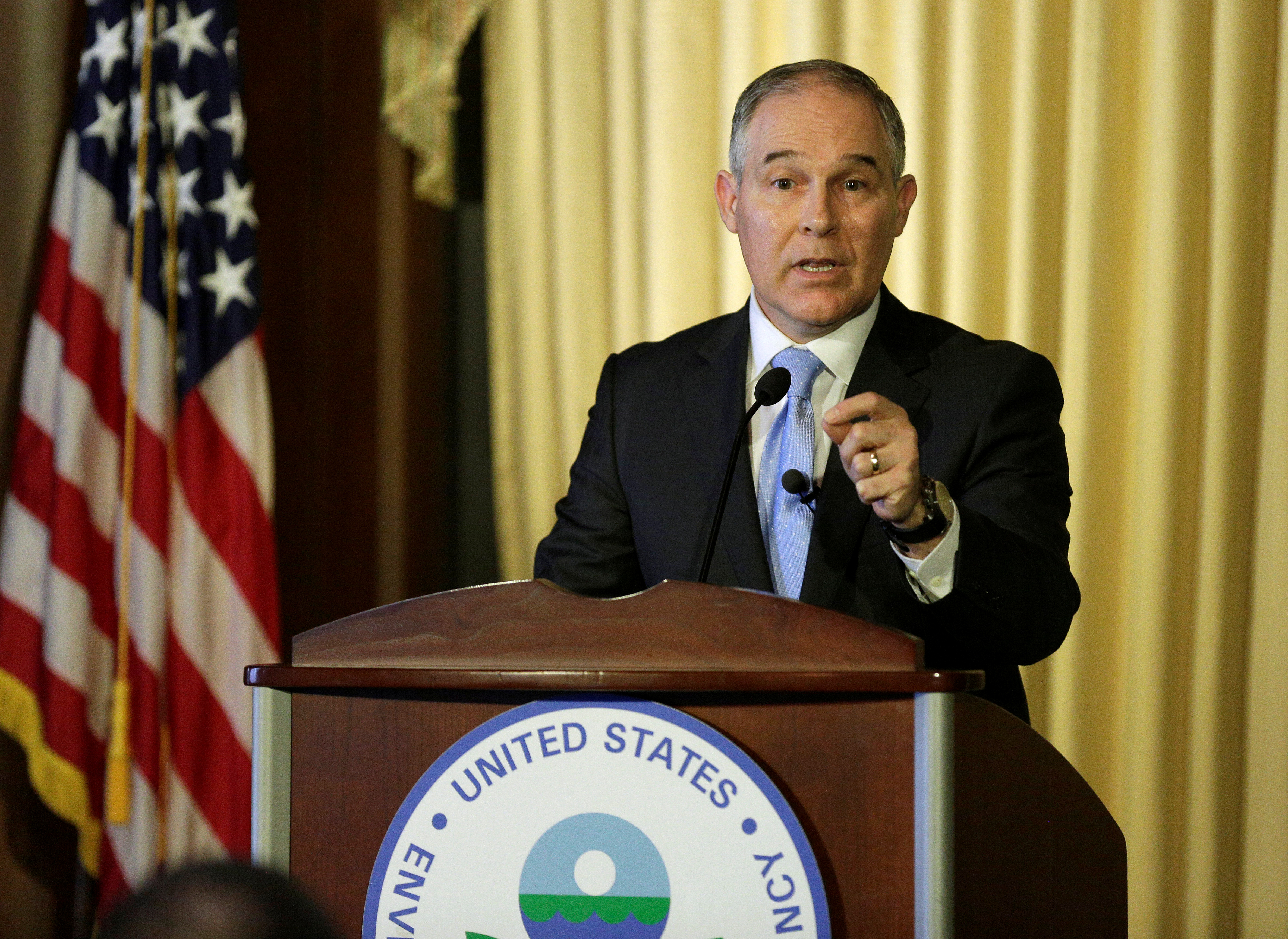 Scott Pruitt, administrator of the Environmental Protection Agency (EPA), speaks to employees of the Agency in Washington