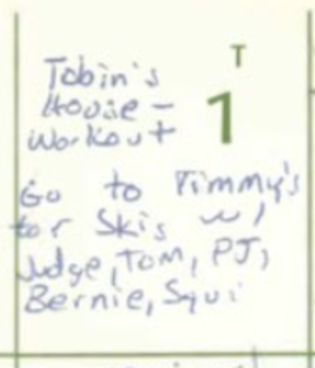 Judge Kavanaugh's calendar entry from July 1, 1982