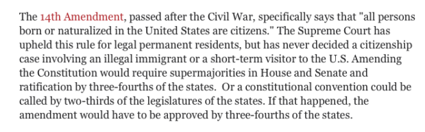 CBS News Birthright Citizenship Excerpt (Screenshot: October 31, 2018)