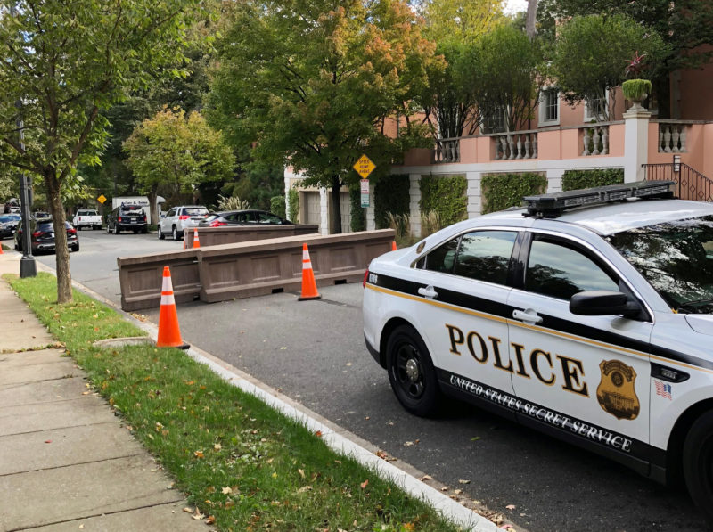 A U.S. Secret Service police vehicle is parked on the street leading to former President Barack Obama's home in the Kalorama neighborhood in Washington, October 24, 2018. REUTERS/Gershon Peaks