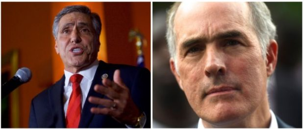 Sen. Casey and Rep. Barletta (LEFT: Photo by Mark Makela/Getty Images RIGHT: Mark Makela/Getty Images)