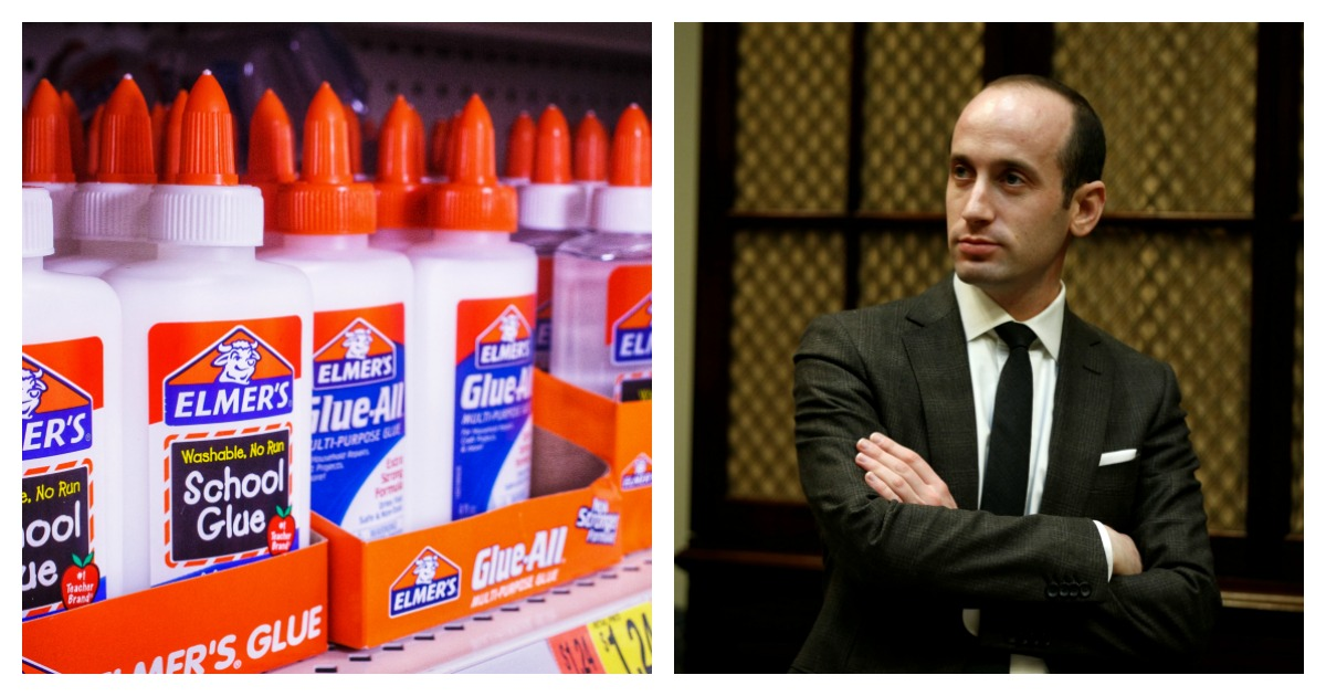 Stephen Miller's teacher who made comments about him eating glue as an 8-year-old is in suspended by the school. Left, SHUTTERSTOCK/NicoleTaklaPhotography/Right, REUTERS//Kevin Lamarque