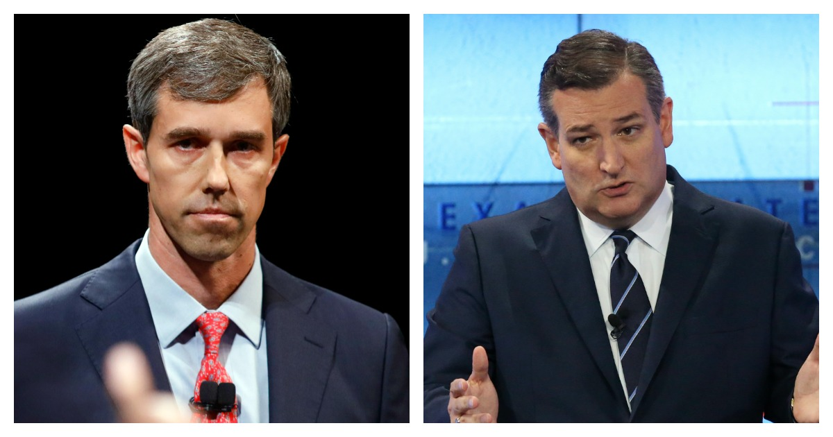 LEFT: Rep. Beto O'Rourke (D-TX) looks and listens to Sen. Ted Cruz (R-TX) during a debate at McFarlin Auditorium at SMU on September 21, 2018 in Dallas, Texas. (Tom Fox-Pool/Getty Images) RIGHT: U.S. Sen. Ted Cruz (R-TX) faces off in a debate with U.S. Rep. Beto O'Rourke (D-TX) at the KENS 5 studios on October 16, 2018 in San Antonio, Texas. A recent poll show Cruz leading O'Rourke 52-45 percent among likely voters. (Tom Reel-Pool/Getty Images)