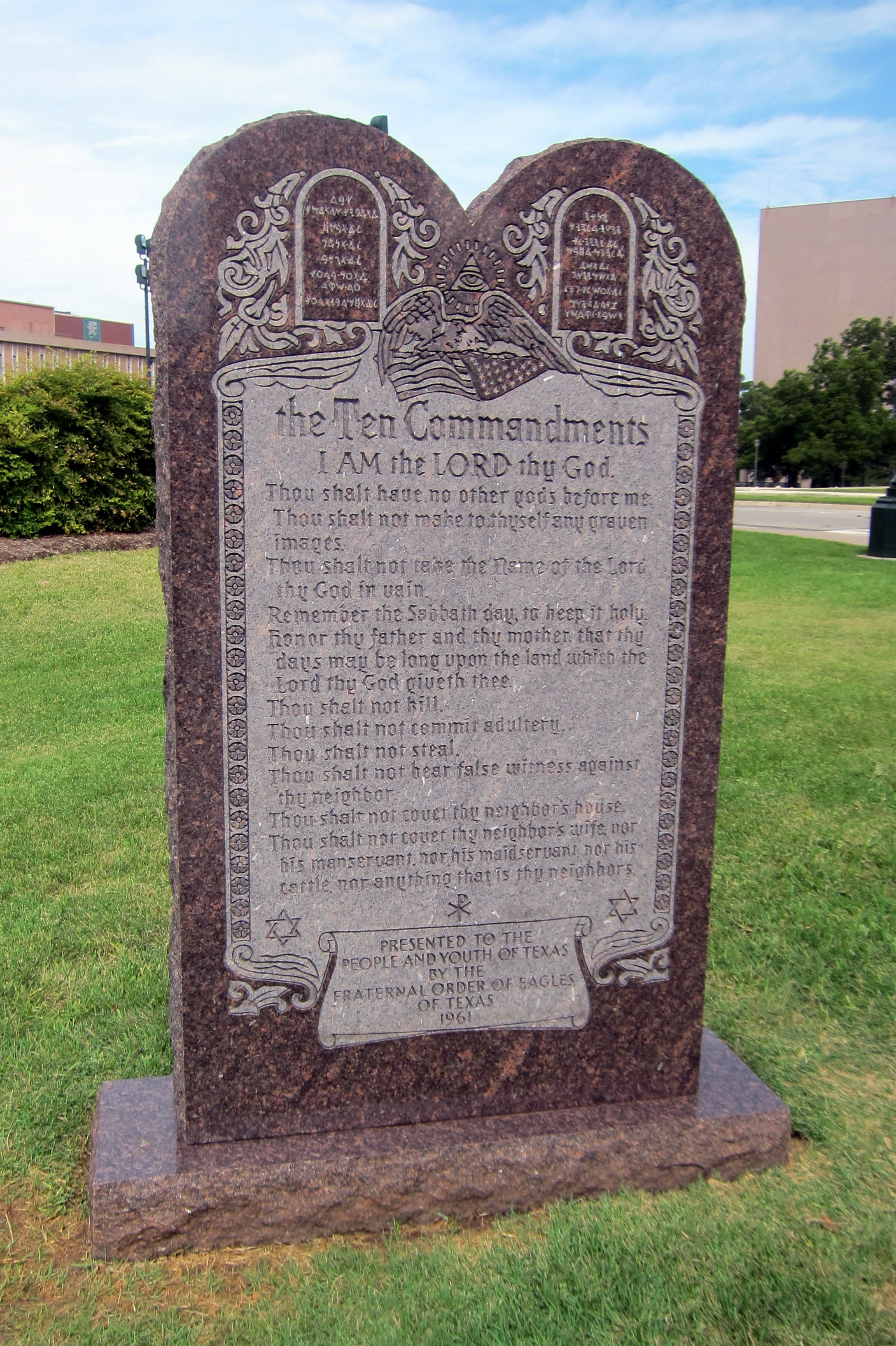 The Ten Commandments statue on the grounds of the Texas State House. (Credit: Wally Gobetz, accessed via Flickr creative commons)
