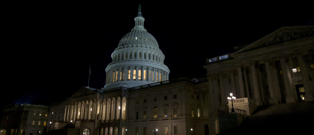 WASHINGTON, DC - JANUARY 20: The US Capitol at night after the senate addjourned tell 1pm EST sunday January 20, 2018 in Washington, DC. The U.S. government is shut down after the Senate failed to pass a resolution to temporarily fund the government through February 16. (Photo by Tasos Katopodis/Getty Images)