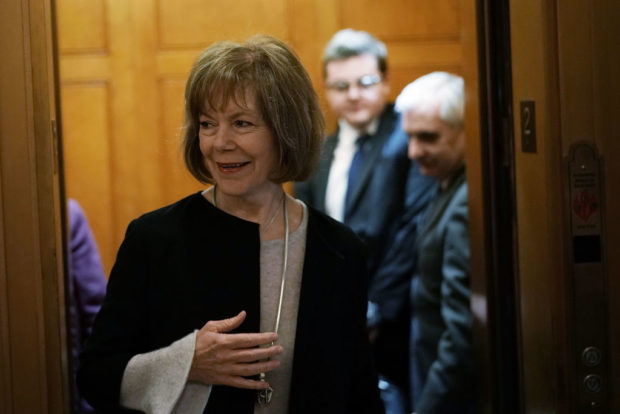 WASHINGTON, DC - FEBRUARY 12: U.S. Sen. Tina Smith (D-MN) arrives for a vote at the Capitol February 12, 2018 in Washington, DC. (Alex Wong/Getty Images)