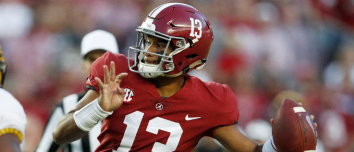 TUSCALOOSA, AL - OCTOBER 13: Tua Tagovailoa #13 of the Alabama Crimson Tide throws a pass in the first quarter of the game against the Missouri Tigers at Bryant-Denny Stadium on October 13, 2018 in Tuscaloosa, Alabama. (Photo by Joe Robbins/Getty Images)
