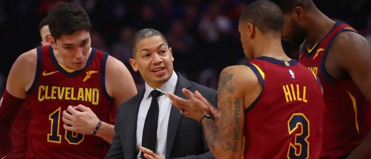 DETROIT, MI - OCTOBER 25: Head coach Tyronn Lue of the Cleveland Cavaliers talks with George Hill #3 Cedi Osman #16 and Tristan Thompson #13 while playing the Detroit Pistons at Little Caesars Arena on October 25, 2018 in Detroit, Michigan. Detroit won the game 110-103. (Photo by Gregory Shamus/Getty Images)