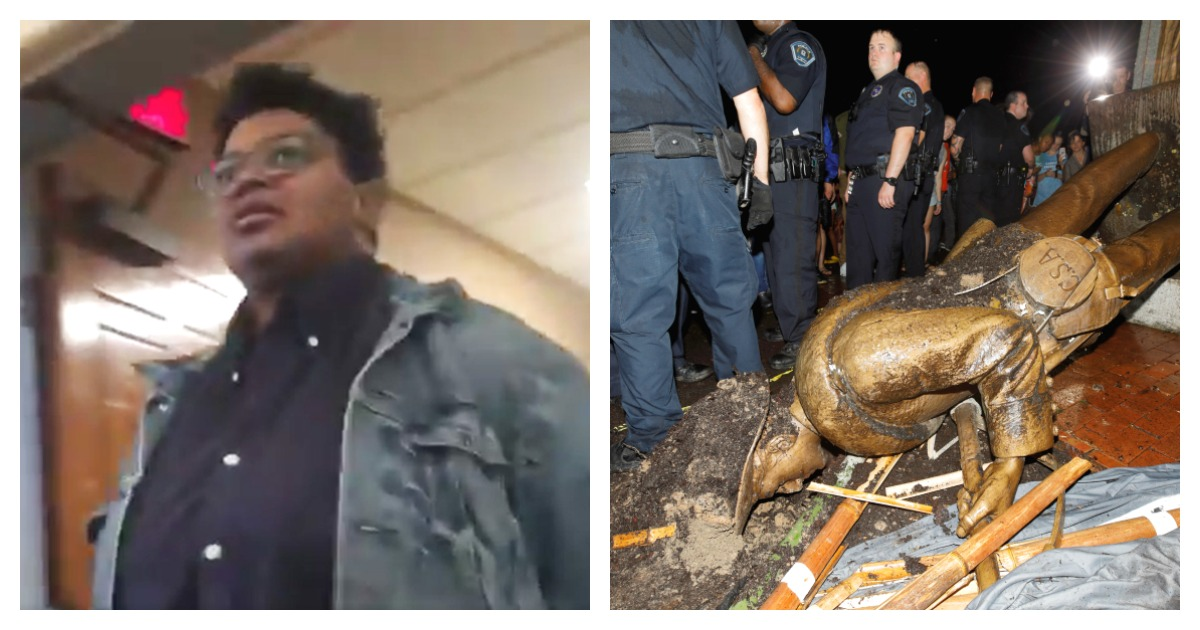 A student who vandalized a Confederate statue was found guilty. Left, Screenshot/ Twitter via Holden Kurwicki/ Right, REUTERS/ Jonathan Drake