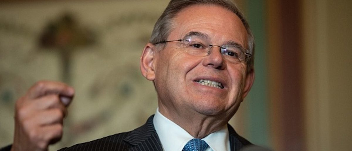 US Senate Foreign Relations Committee ranking member Democratic Senator from New Jersey Bob Menendez speaks to the press after a meeting with Canadian Foreign Minister Chrystia Freeland at the US Capitol in Washington, DC, on June 13, 2018. (Photo by NICHOLAS KAMM / AFP) (Photo credit should read NICHOLAS KAMM/AFP/Getty Images)