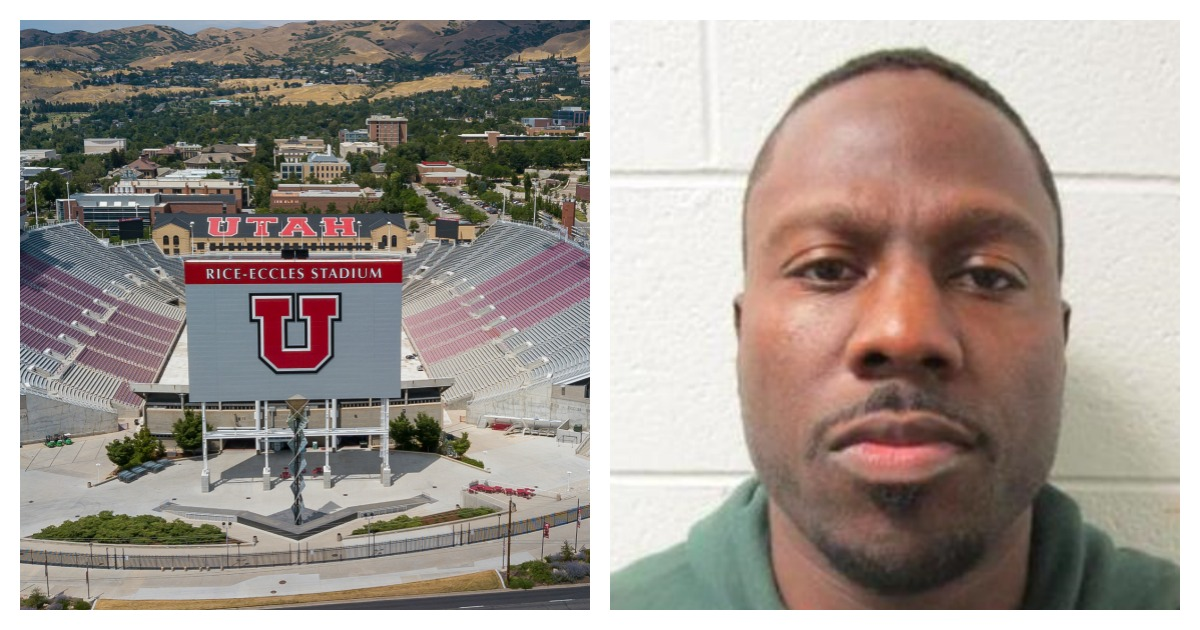 A registered sex offender who is accused of killing a University of Utah student was a security guard. Left, SHUTTERSTOCK/ Action Sports Photography/ Right, Screenshot/ Utah Department of Corrections