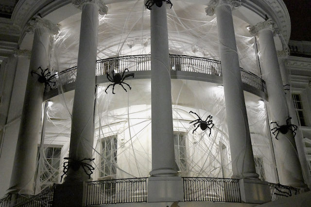 The South Portico of the White House is covered in decorations for Halloween, October 28, 2017 in Washington, DC. (Photo by Olivier Douliery-Pool/Getty Images)