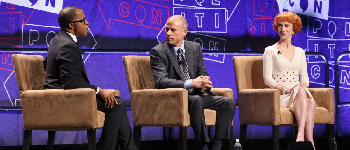 (L-R) Jonathan Capehart, Michael Avenatti, and Kathy Griffin speak onstage during Politicon 2018 at Los Angeles Convention Center on October 20, 2018 in Los Angeles, California. (Photo by Phillip Faraone/Getty Images for Politicon)