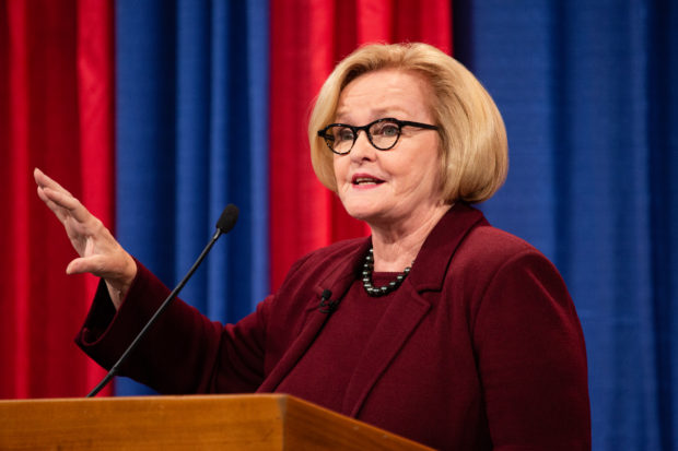U.S. Sen. Claire McCaskill makes a point during an October 18 Senate debate with Republican challenger Josh Hawley. Carolina Hidalgo/St. Louis Public Radio