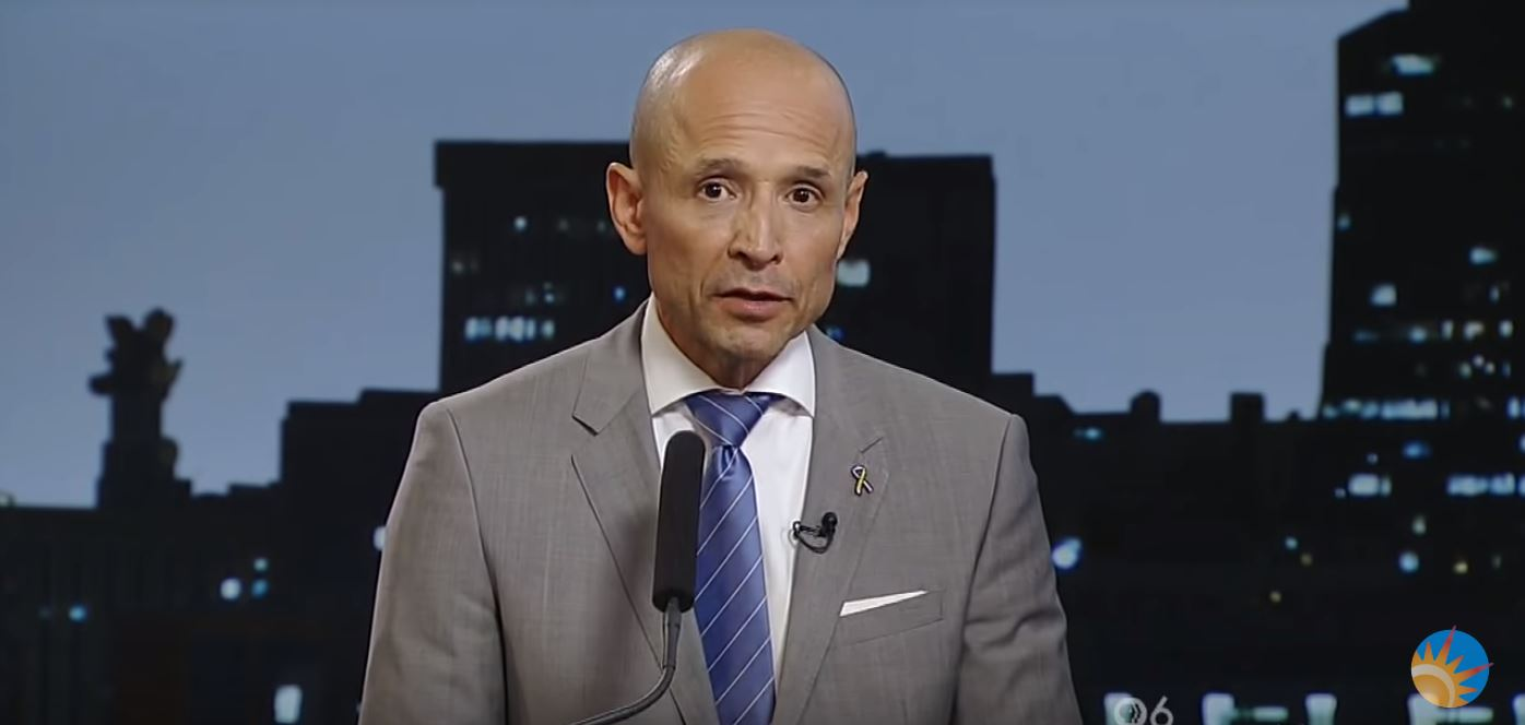 Democrat David Garcia is running for governor of Arizona. YouTube screenshot/azcentral.com and The Arizona Republic