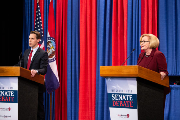 U.S. Sen. Claire McCaskill responds to a question during an October 18 Senate debate with Republican challenger Josh Hawley. Carolina Hidalgo/St. Louis Public Radio