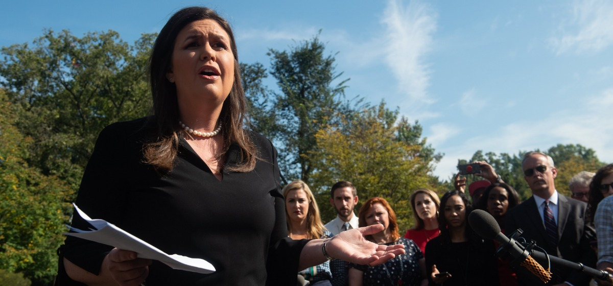 White House Press Secretary Sarah Huckabee Sanders speaks to the press at the White House in Washington, DC, on October 4, 2018. (Photo by NICHOLAS KAMM / AFP) (Photo: NICHOLAS KAMM/AFP/Getty Images)