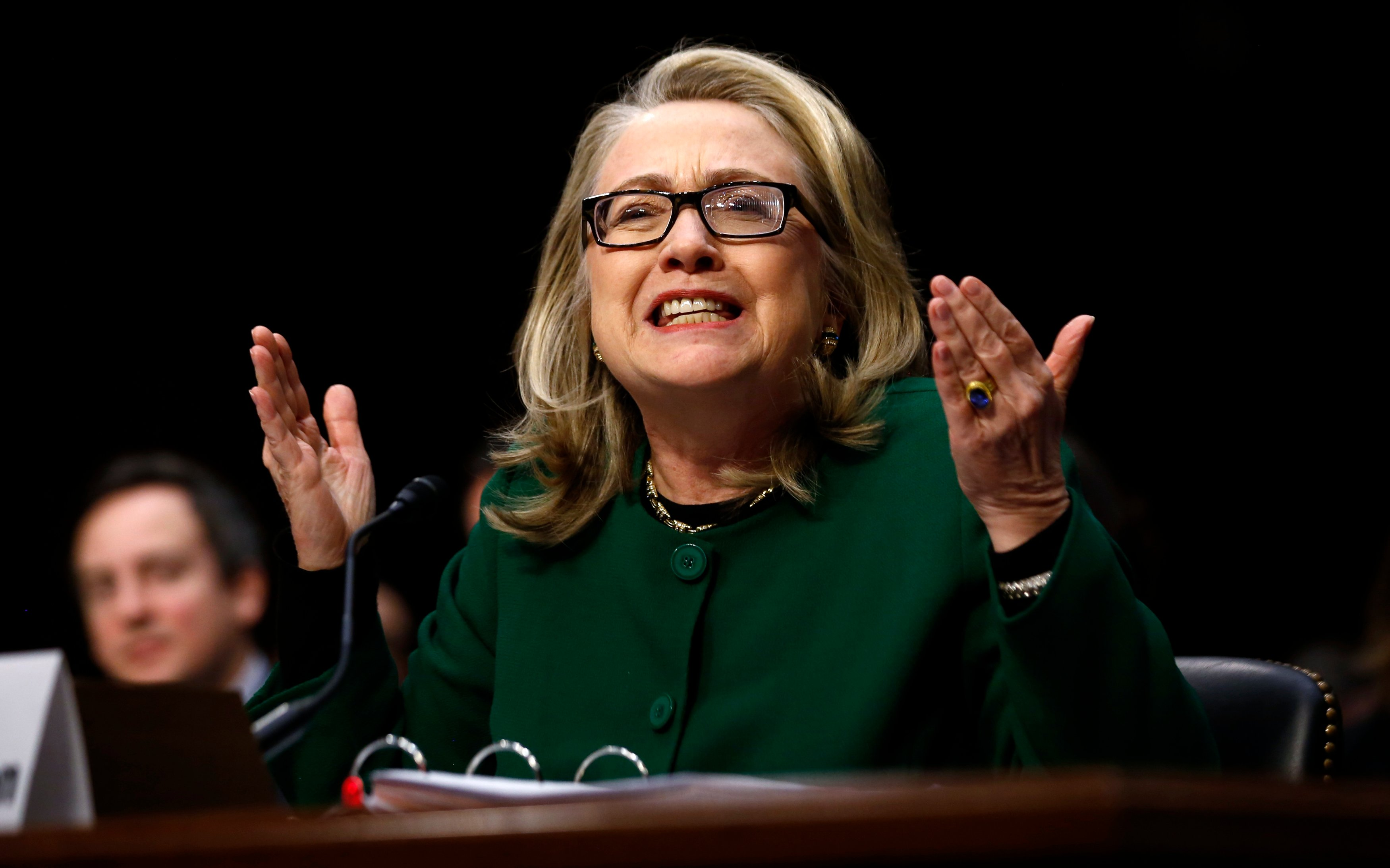 U.S. Secretary of State Hillary Clinton responds forcefully to intense questioning on the September attacks on U.S. diplomatic sites in Benghazi, Libya, during a Senate Foreign Relations Committee hearing on Capitol Hill in Washington January 23, 2013. REUTERS/Jason Reed