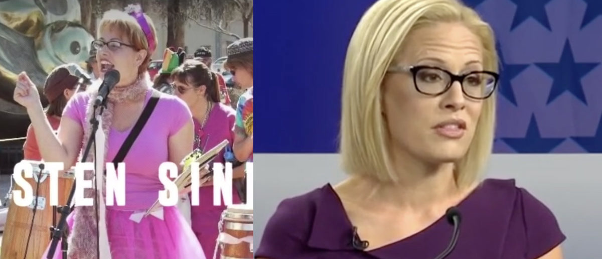 Left: Kyrsten Sinema wearing a pink tutu at an anti-war rally Right: Kyrsten Sinema at an Arizona Senate debate [Screenshot/ABC15;Screenshot/ABC15]