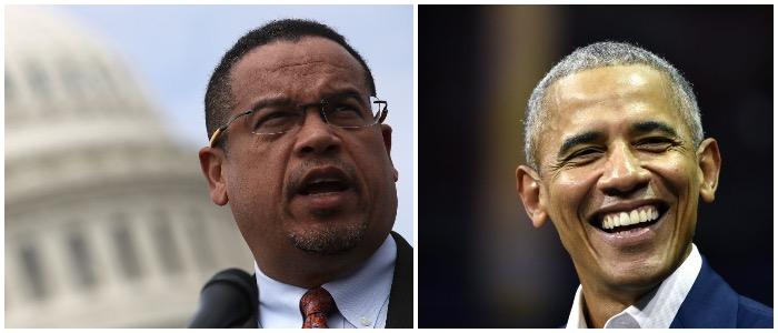 President Obama and Keith Ellison (LEFT: Win McNamee/Getty Images RIGHT: JUSSI NUKARI/AFP/Getty Images)
