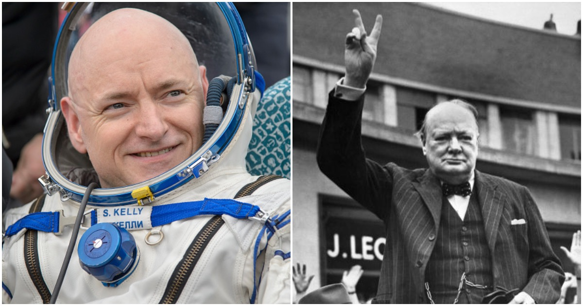 LEFT: Expedition 46 Landing (Photo by Bill Ingalls/NASA via Getty Images) RIGHT: Undated picture of Sir Winston Churchill (Photo by OFF/AFP/Getty Images)