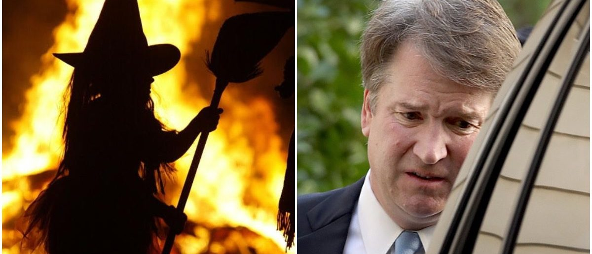 A witch and Brett Kavanaugh (LEFT: Photo by Mark Wilson/Getty Images RIGHT: Photo by Win McNamee/Getty Images)