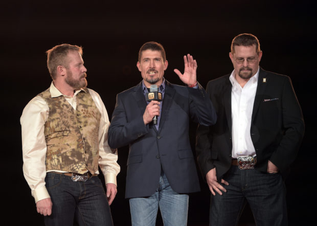 "ARLINGTON, TX - JANUARY 12: (L-R) Mark ""Oz"" Geist, Kris ""Tanto"" Paronto, and John ""Tig"" Tiegen attend the Dallas Premiere of the Paramount Pictures film ?13 Hours: The Secret Soldiers of Benghazi? at the AT&T Dallas Cowboys Stadium on January 12, 2016 in Arlington, Texas. (Photo by Jason Kempin/Getty Images for Paramount Pictures)"