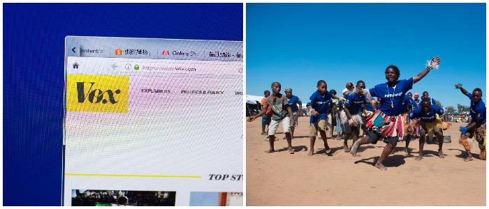 Vox Media and children from Zimbabwe (LEFT: Shutterstock.com, RIGHT: ZINYANGE AUNTONY/AFP/Getty Images)
